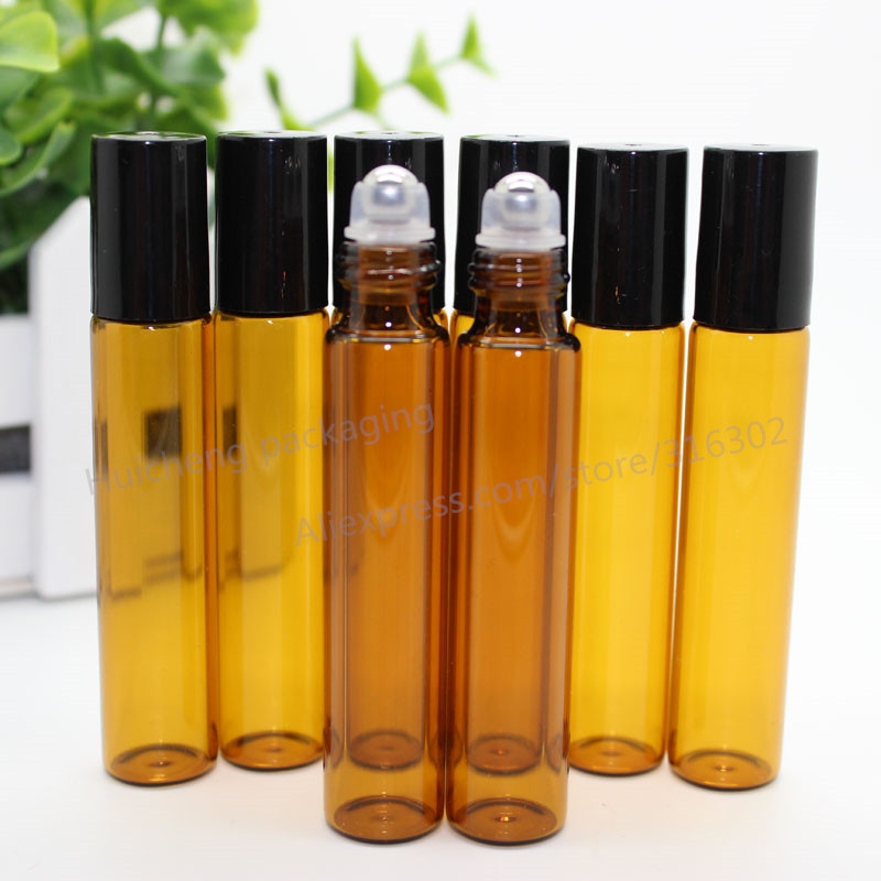 50pcs x 10ml amber roll on roller bottles for essential oils roll-on refillable perfume bottle deodorant containers(China (Mainland))
