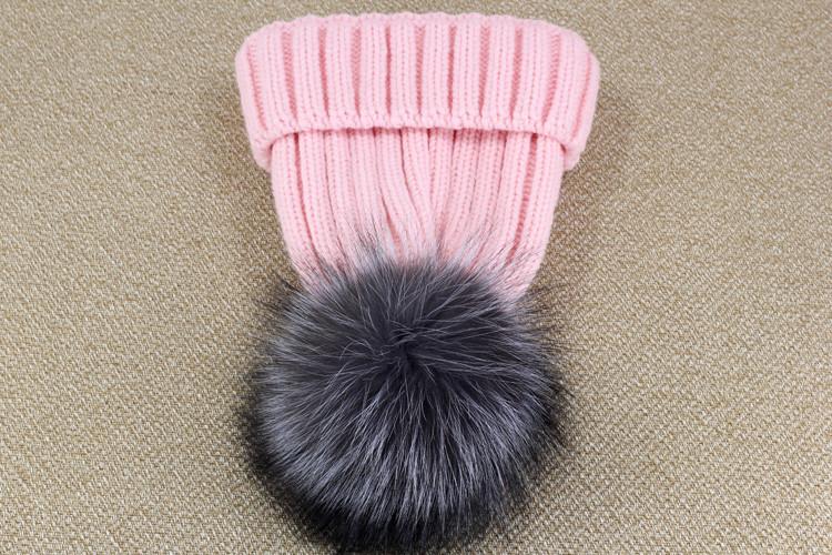 100% настоящее лисий мех зима трикотаж пом шляпа arrvals шляпы для женщины мягкий тёплый утолщаются шляпа