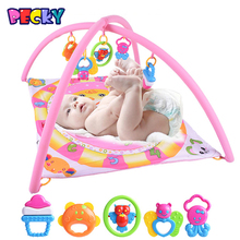Becky 2016 New Baby Gym Play Mat Infant Floor Blanket Children's Baby Crawling Mat Pink Egg With 5 Rattles I Love Baby(China (Mainland))