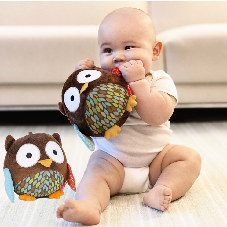 Hot sale Free shipping cute owl baby plush toy soft cloth music ball kid's ball toy hand rattles bell mobiles musci ball SKP003-(China (Mainland))