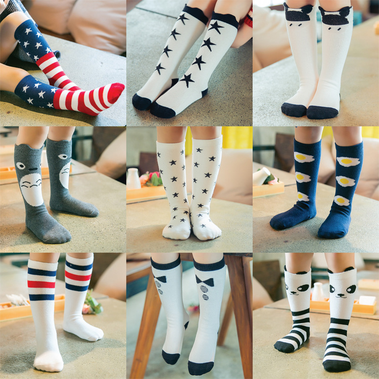 Toddler Baby Socks New Cartoon Design Knee High Socks Kid Girl Boy Autumn Winter Leg Warmers Children Socks Knee Pad Cute V20(China (Mainland))