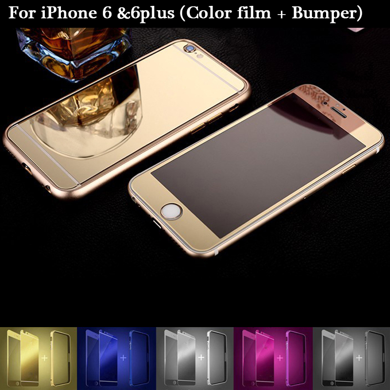 Full Glass Cover for iphone 6 plus Case Luxury Tempered Glass Screen Protector for Apple iphone 6 6plus Plate Mirror Color Film(China (Mainland))