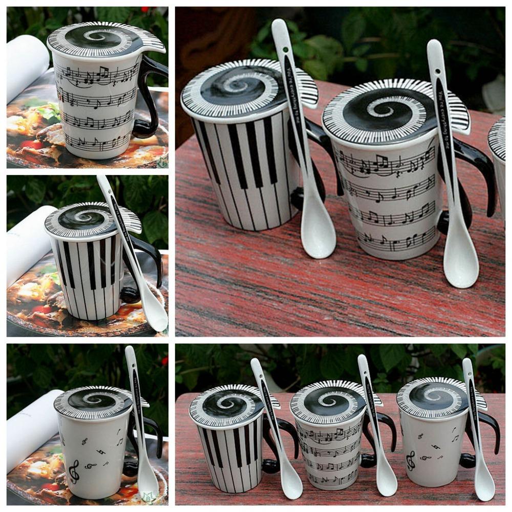 Music Coffee Cup Mug Staff Notes Piano Keyboard Ceramic Porcelain Mug with Cover Spoon Creative Gift YXT8001(China (Mainland))