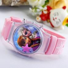 2015 moda princesa Elsa Anna niños relojes de dibujos animados reloj para los niños estudiante lindo Digital de pulsera del deporte Criancas Relogio
