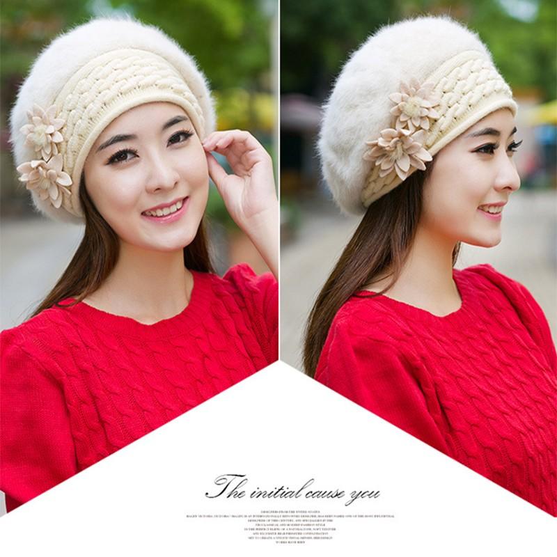Warm Winter Hats for Women Wool Knitted Beret Beanies Female Caps Faux Rabbit Fur Braided Hats Gorros Ski Cap Bonnet Femme
