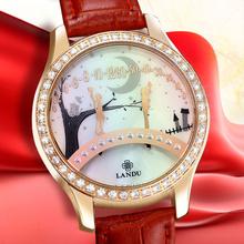 Mujeres del reloj, las nuevas para mujer banda de acero puente de amantes besándose relojes relojes de cuarzo resistente al agua, oro rosa de color, regalo