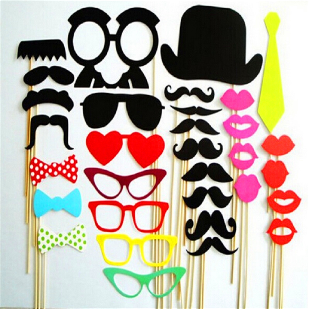 Photo Booth 34pcs 2016New Photo Booth Props Accessories Wedding Party Decorations Event Party Supplies Glass Cap Moustache Lips(China (Mainland))