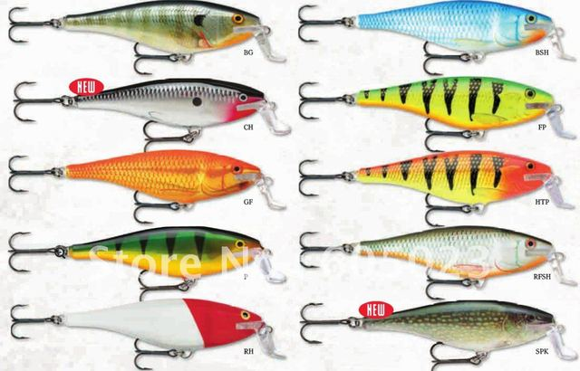 wholesale 200pcs/lot super shad rap plastic hard lure 95mm+15g+VMC hook BG,SPK, FP mix 3 colors high quality fishing baits
