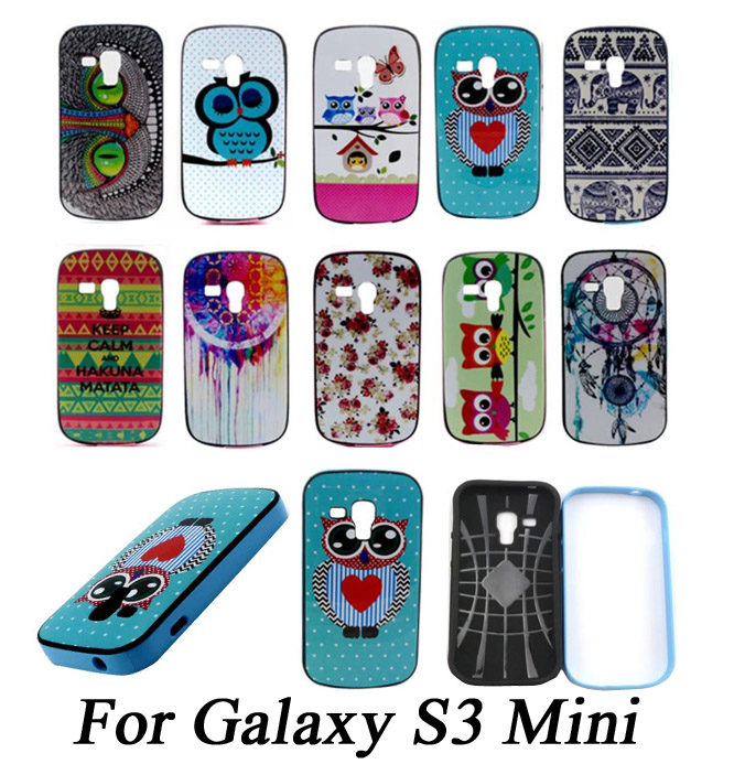 Colorful 2 IN 1 Design Bumper + Case Fashion Sleep Owl Painting Phone Case Cover For Samsung Galaxy S Duos S7562 S7560(China (Mainland))