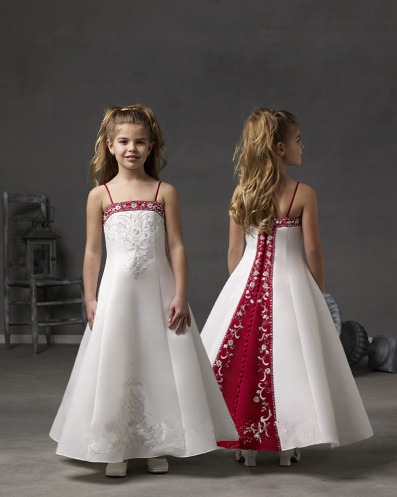 Kids gowns party dresses for girls 8 years white and red for Wedding party dresses for girl