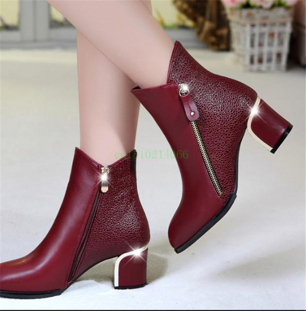 Женская обувь новая осень и зимние сапоги толстые с туфли на высоком каблуке кожа ...