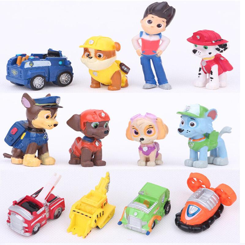 Hot 12pcs/set Patrol Action Figure PVC model toy Patrol Puppy Car PVC Toy Minifigures Dog Patrulla Canina Model Christmas gift(China (Mainland))