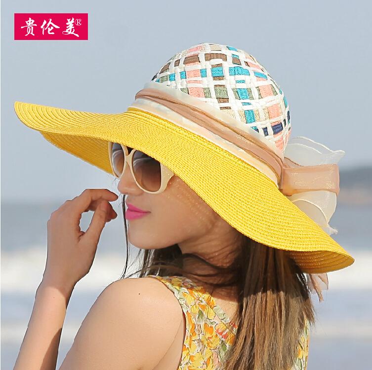 Summer Straw Hat Cap Ladies Foldable Wide Large Brim Floppy Beach Hats Female Sunbonnet Hand Made Women UV Sun Visor Hat(China (Mainland))