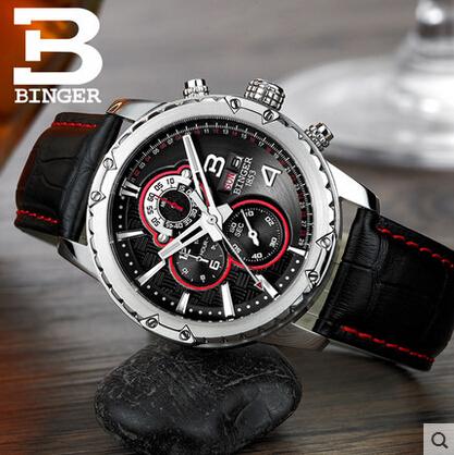 Здесь можно купить  Binger wristwatch men luxury brand watch fashion business leisure alloy casing multi-functional design watches free shipping  Ювелирные изделия и часы