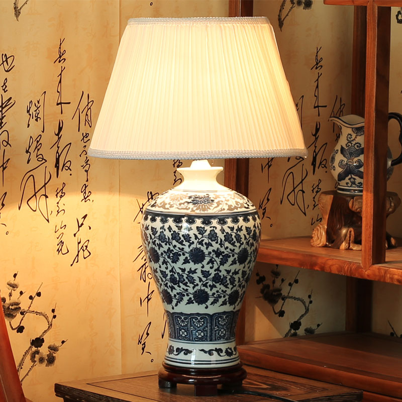 Antique Style Blue And White Porcelain Ceramic Table Lamps For Living Room Or Bedroom Intable
