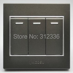 free shipping wall switch three on double control wall switch coffee color(China (Mainland))