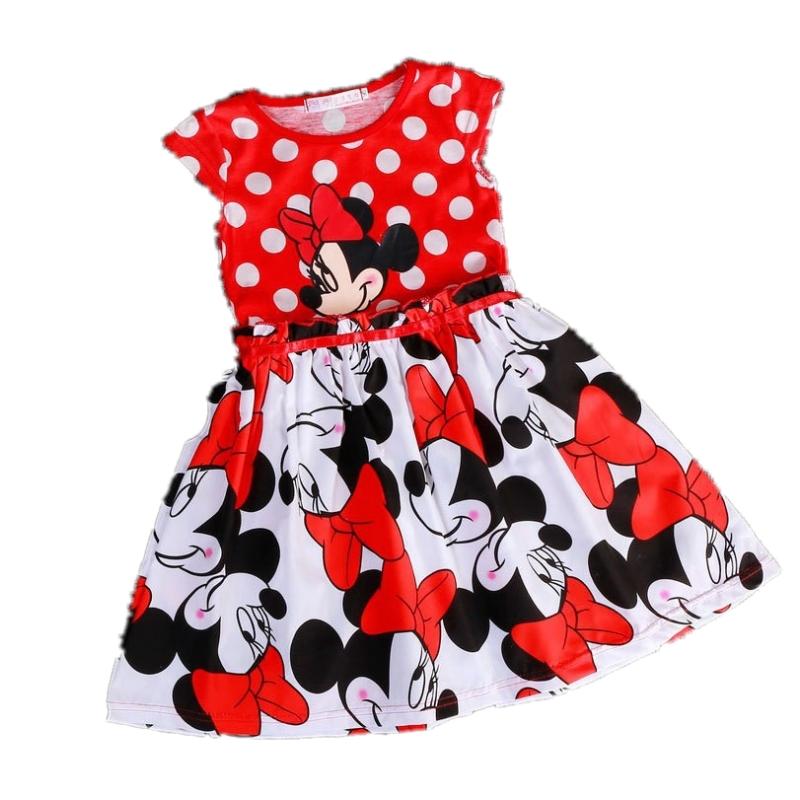 Summer Girls Dresses Clothes Dot Mickey Minnie Baby Girl Dress Cartoons Toddler Kids Girl Princess Party Dress Clothing(China (Mainland))