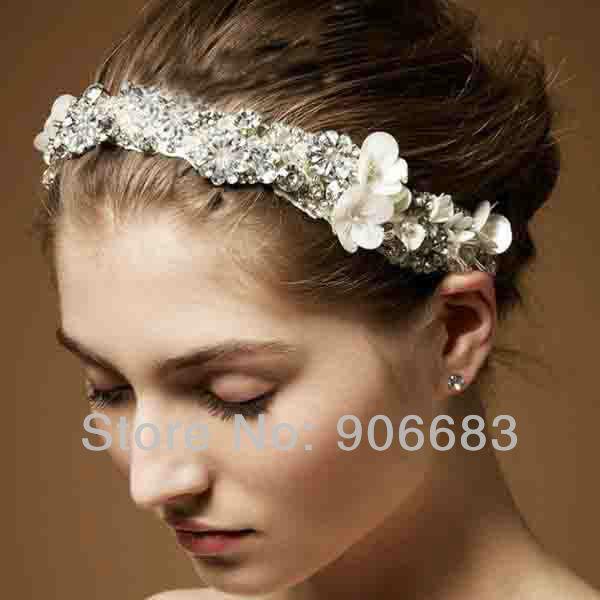 Luxury Top Quality High-end Custom Made Rhinestone Floral Cyrstals Lace Bridal Hair Jewelry Bride Headdress Headband Hairbands