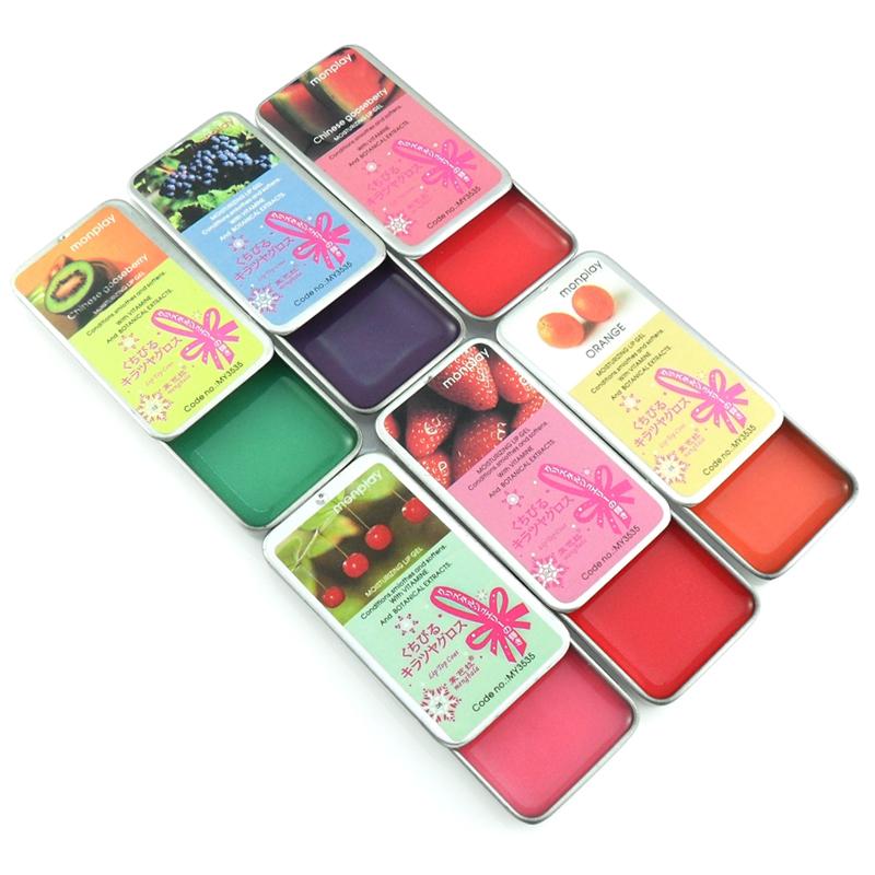 New Retro Tin fruit Lip Balm Makeup Moisturizing Lipstick 8.5g Lip Gel Gloss(China (Mainland))