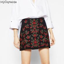 Buy M.h.artemis Women Red Black Short Skirt Ethnic Floral Embroidery Boho Chic High Waist Slim Mini Skirt Vintage 90's Mini Skirts for $16.74 in AliExpress store