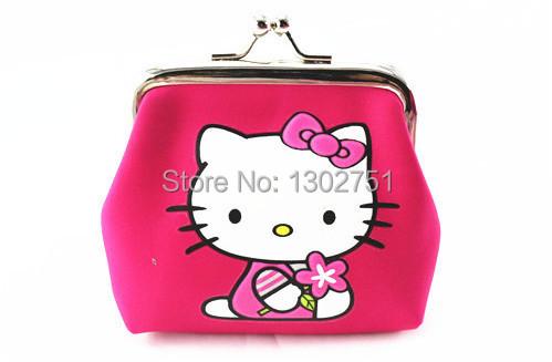 Retail Children Girls Coin Wallet Purses Nylon 9*8cm Shell Design Cartoon Hello Kitty Kids Money Storage Bag(China (Mainland))