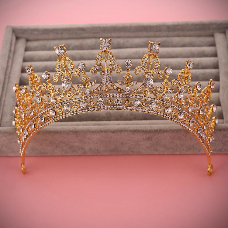 The new golden crown bridal bride rhinestone alloy crown headdress bride dress accessories()