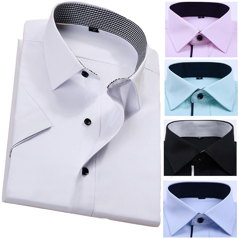 White Black Pink Dress Shirts Men Oxford Non Iron Slim Fit Business Shirt Short Sleeve Male Formal Shirts For Men Plus Size 5XL(China (Mainland))
