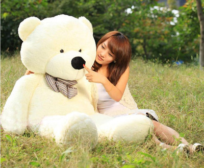 HOT sale giant 100cm BIG CUTE Beige plush teddy bear huge soft 100% cotton toy(China (Mainland))