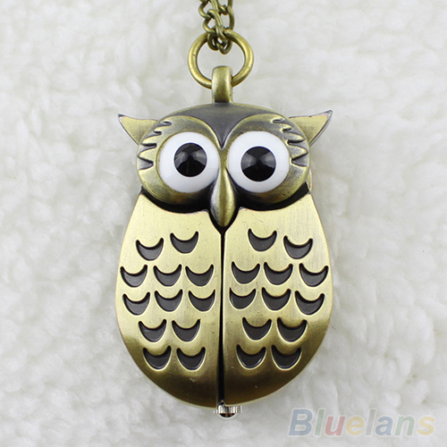 2016 Vintage Bronze Retro Slide Smart Owl Pocket Pendant Long Necklace Watch(China (Mainland))