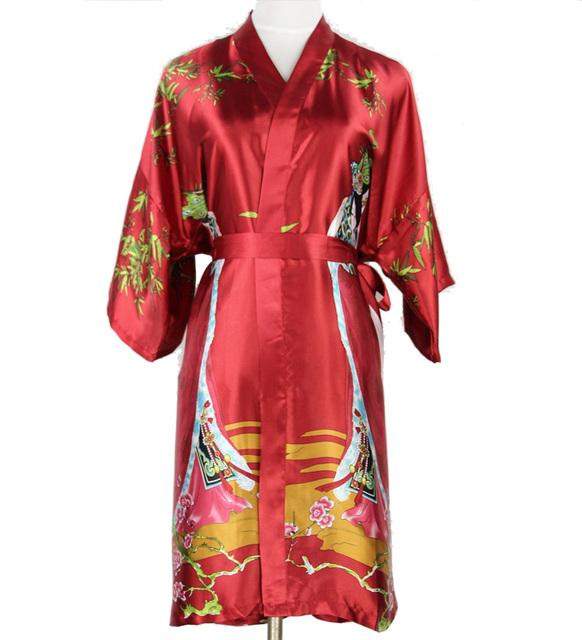 Бургундия национальных тенденций шелковом кимоно юката платье китайской женщины короткая ...