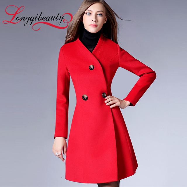Мода длинный шерстяное пальто 2016 осень и зима женщин сплошной шерстяное пальто ...