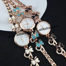 JW-3356 Charm Butterfly Bracelet Watches Wholesale Fashion Style Casual Watch Rose Gold Plated Rhinestone Female Bracelet Watch(China (Mainland))