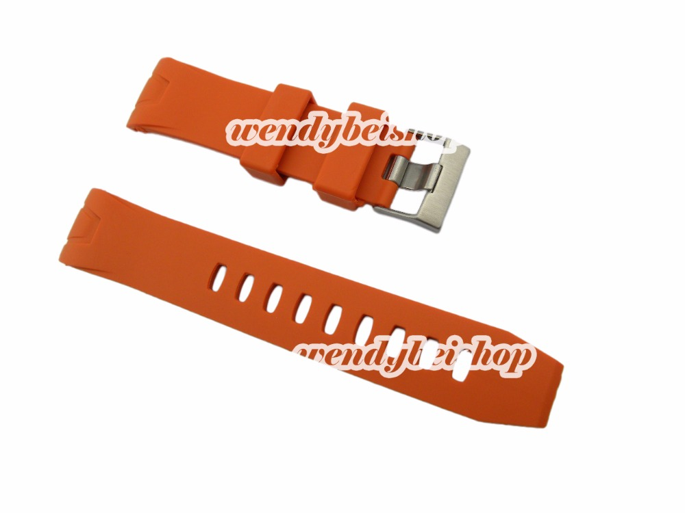 22mm(20mm buckle) Men Lady High Quality Orange Silicone Rubber Curved End Watch Strap for omewatchband Silver Brushed Pin Buckle(China (Mainland))