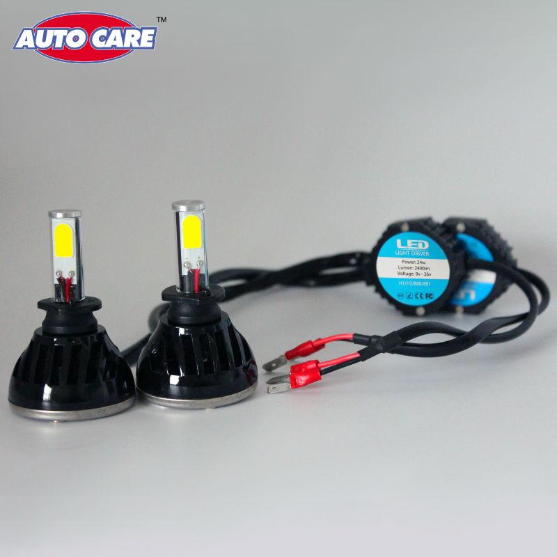 Auto Care H1 LED Car Headlight 24W 2400LM 2 COB Waterproof Led Auto White Bulb Automotive Front Rear Head light Fog lamp Kit