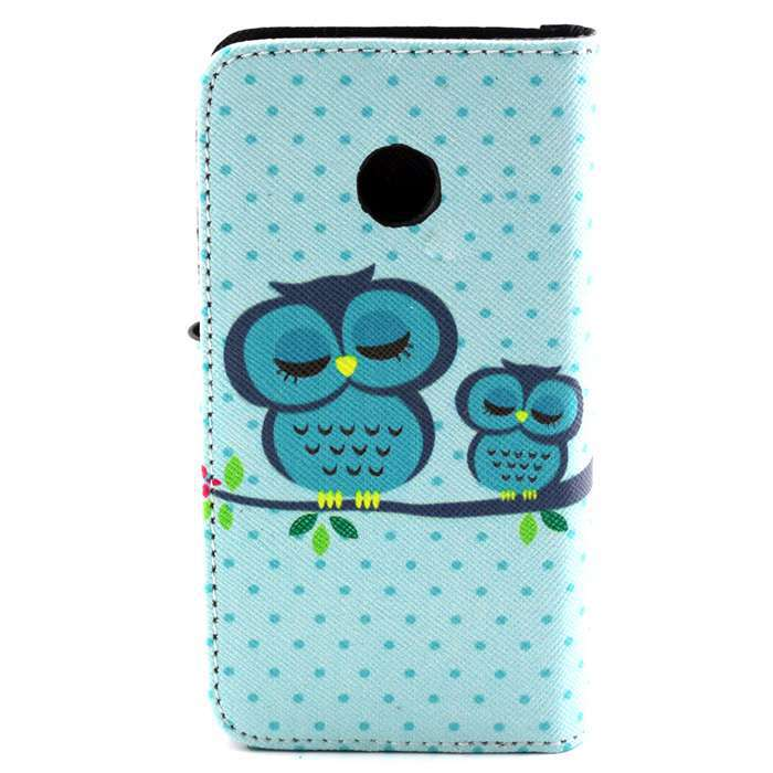 Cell Phone Bags Cover for Huawei Y330 Sleeping Owls Design PU Leather Wallet Stand Cases With Card Slots Holder(China (Mainland))