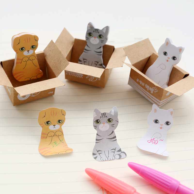 3D Cartoon Kawaii Paper Scrapbooking Cat Dog Stickers Cute Korean Stationery Sticky Notes Diary School Supplies Post It Memo Pad(China (Mainland))