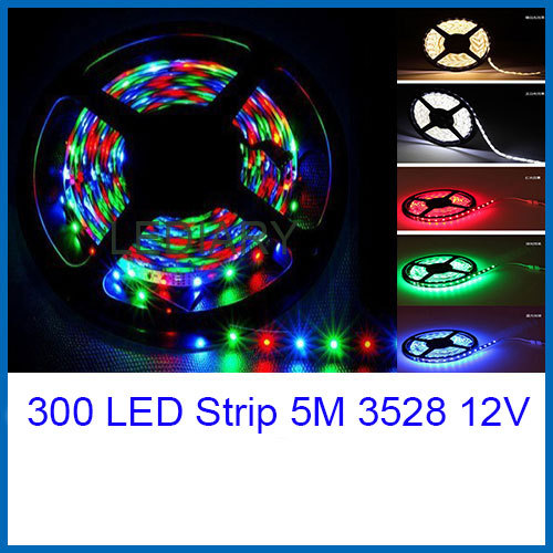 300LED strip/tape light 3528 5M 12V IP20 non-waterproof christmas/party/wedding light decoration red/yellow/blue/green/RGB(China (Mainland))
