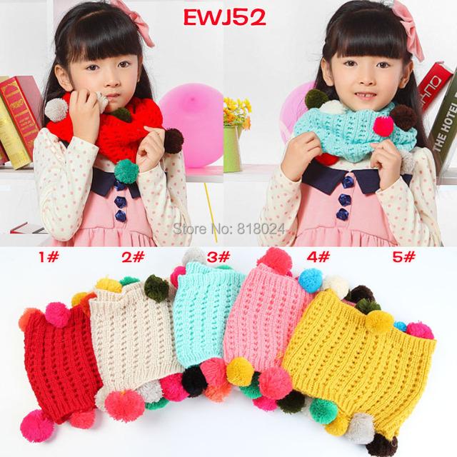 Красочные шары девушки шарфы детские шарф дети хлопок шерстяной шарф осень зима теплая о-образным кольцо вязаные шарфы рождественские подарки