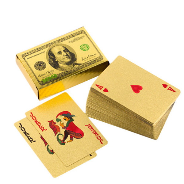 Bestmaple 24K Gold Foil 100 USD Pattern Poker Playing Cards Games Pokers(China (Mainland))
