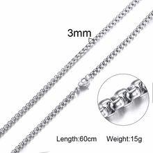 Męskie okrągłe pudełko ze stali nierdzewnej i koralik Link Chain naszyjnik w czarny srebrny złoty z 24 cali (2.5mm-3.5mm szerokości)(China)