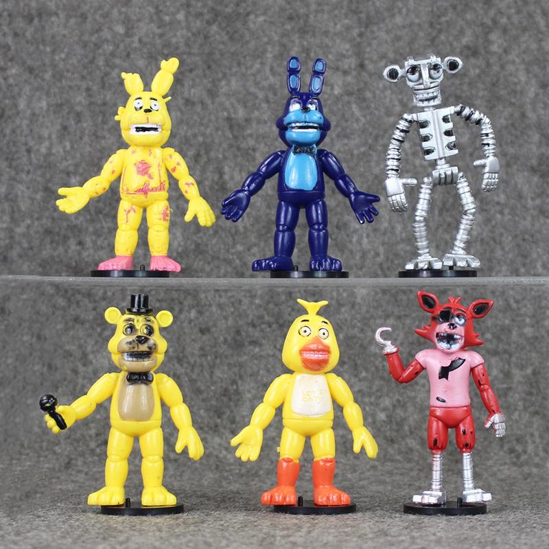 6Pcs/SetFive Nights At Freddy's FNAF Action Figure Freddy Fazbear Bear Foxy Bonnie Chica Kids Toys Free shipping(China (Mainland))
