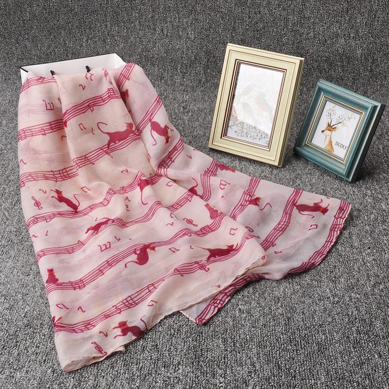 XS-054 Hot music score and cat kitty printing Viscose cotton female scarves shawls women scarf 180*90cm beach Pashmina headscarf(China (Mainland))