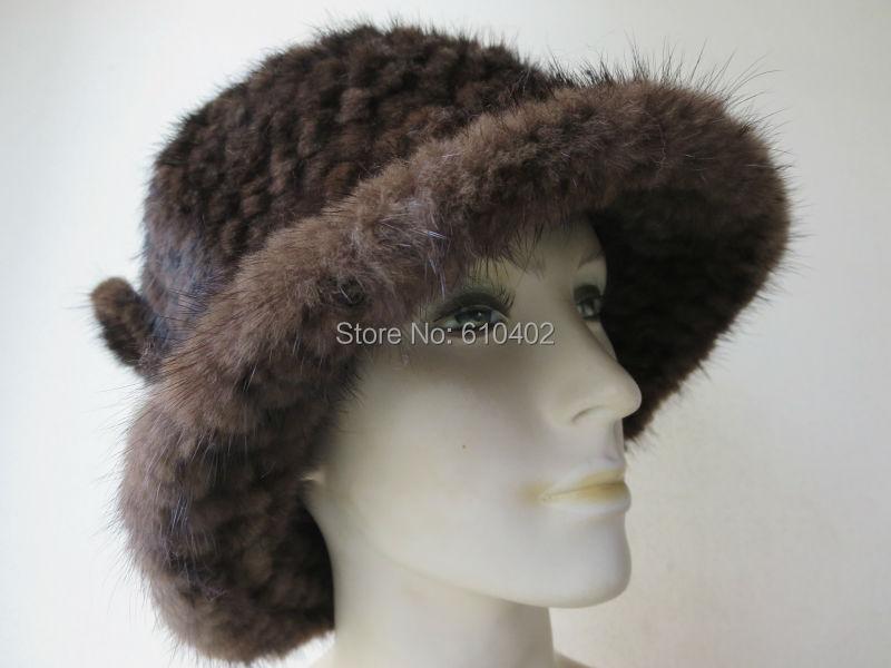 Скидки на Бесплатная доставка/женская Подлинная Реального Норки ручной вязки Top Hat/коричневый