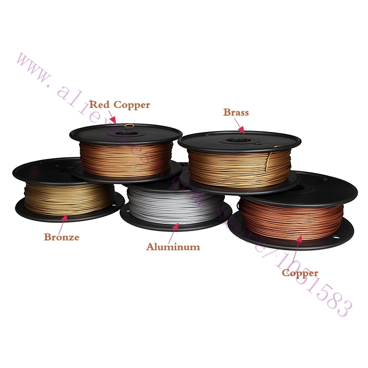 Newest 3D Printer Metallic Filament 40 Of Metal Content Filaments Red Copper Brass Bronze Copper Aluminum