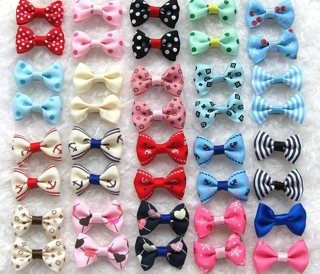 20 Color/Lot Pet Bows For Cats Dog Hairpin Headdress Dog Clips Metal Clip Dog Hair Bows Dog Headdress Pet Accessories PY937(China (Mainland))
