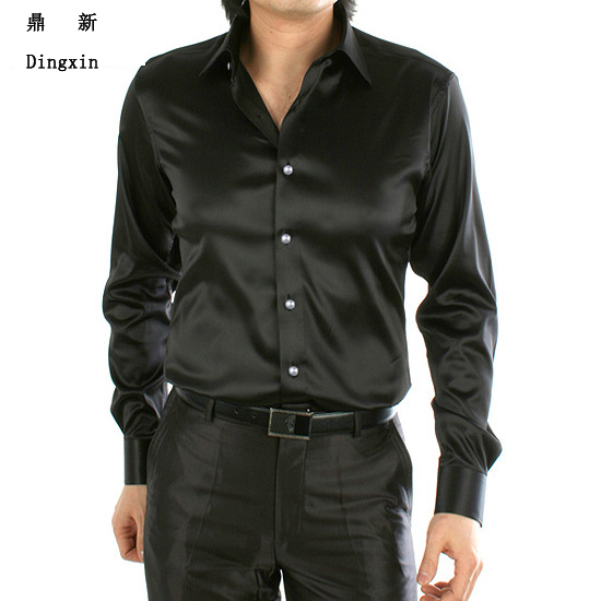 High quality dingxin brand black long sleeve men 39 s slim for Mens dress shirt sleeve length