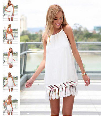 Sexy Womens Summer Beach Casual Chic Tassels Mini Dress Backless Halter Neck(China (Mainland))