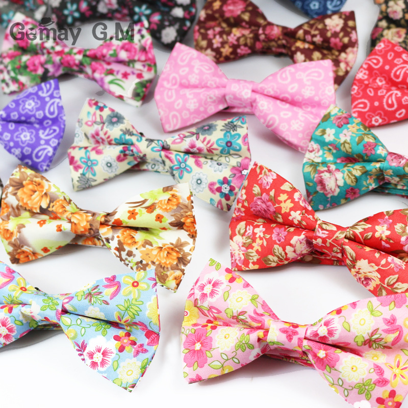 Fashion Polyester Mens Bow Tie Flower Printed Vintage Bowtie for Bridegroom Wedding Gravata Slim Floral Women Bowtie Cravat(China (Mainland))