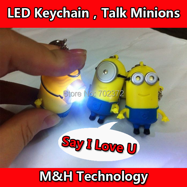 Despicable me 2 LED  Keychain talk minions press button say I love you gift for lovers(China (Mainland))