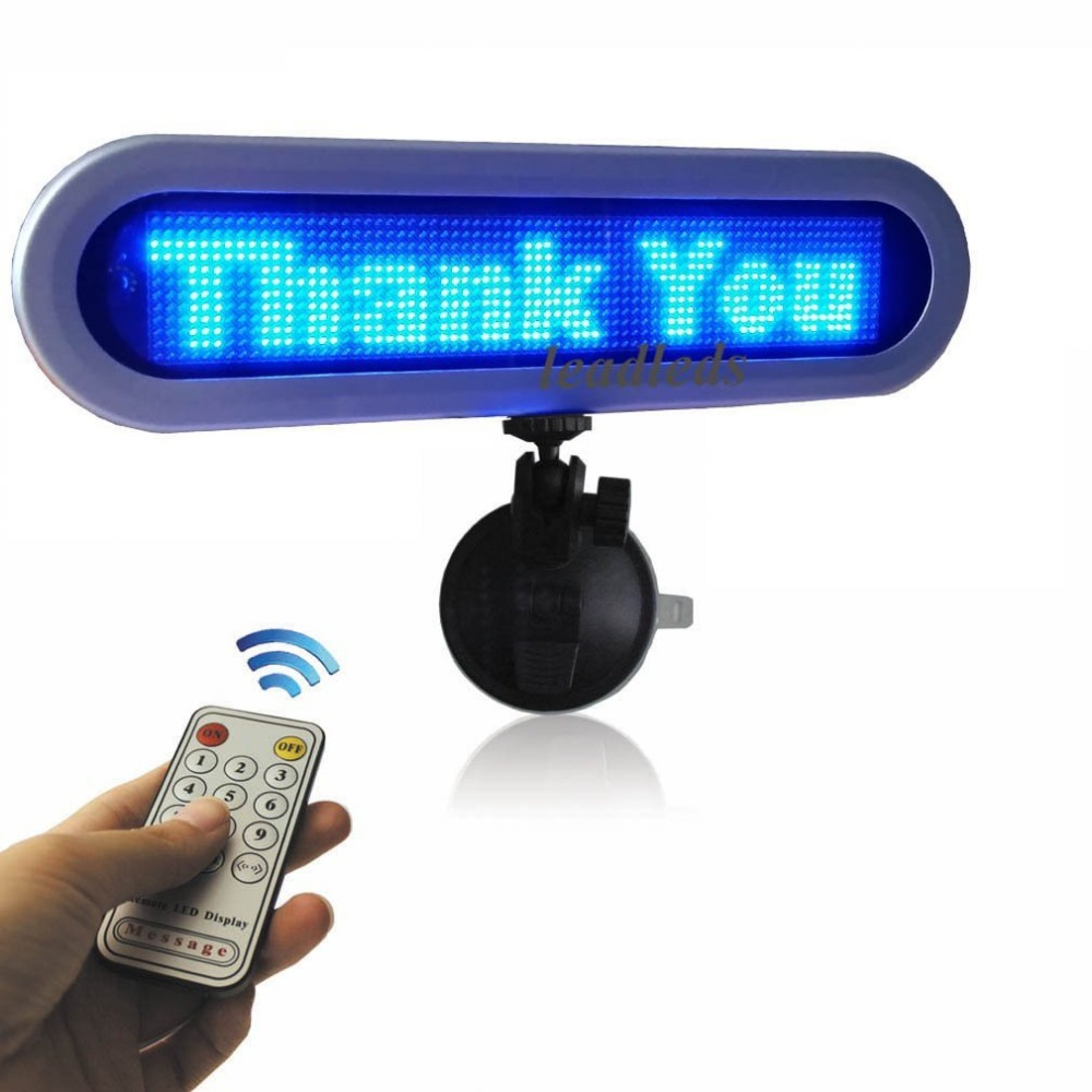 28 cm 12V Blue store window car rear window LED scrolling display board South Korea Russia English advertising sign(China (Mainland))